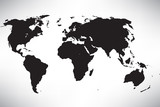 wold map in black on the white background