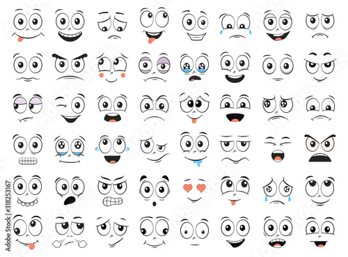 Obraz Cartoon faces set. Angry, laughing, smiling, crying, scared and other expressions. Illustration. - fototapety do salonu