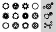 Vector Machine Cogwheel Collection. Set Of Gear Wheels And Cogs, Flat Icons In Black And White, Different Configuration. Clockwork Round Details. Gears Can Be Combined Into Mechanism By Changing Size.
