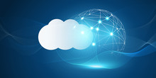 Futuristic Cloud Computing Design Concept - Digital Connections, Technology Background With Polygonal Globe