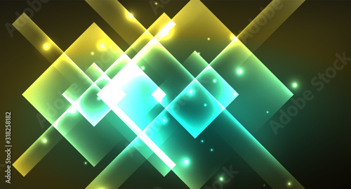 Vászonkép Shiny neon design square shape abstract background