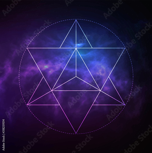 Fotografie, Obraz Mystical sacred geometry vector symbol Merkaba