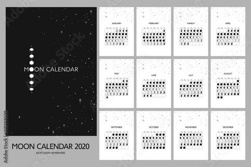 Photo Vector moon calendar 2020