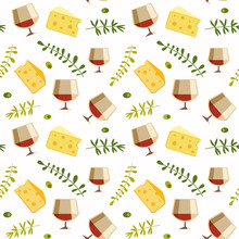 Red Wine Glass Cheese Flat Vec...