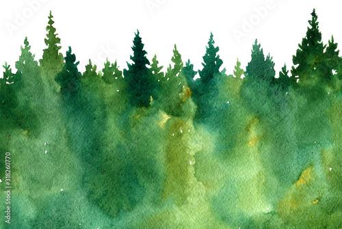 Obraz watercolor landscape with trees - fototapety do salonu