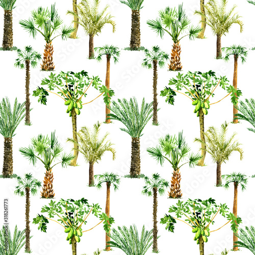 seamless pattern with palm trees Wall mural