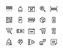 Barcodes Line Icons. Ticket Wi...