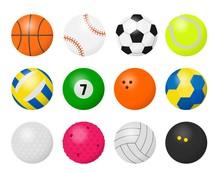 Sport Balls. Cartoon Equipment...