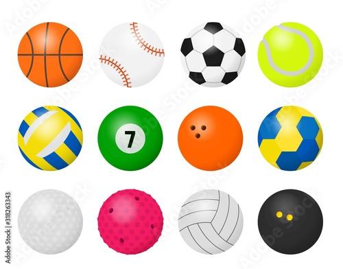 Obrazy Sporty z Piłkami  sport-balls-cartoon-equipment-for-playing-sport-games-football-basketball-baseball-volleyball