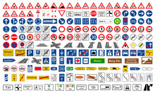 Collection Of Road Signs In Ge...