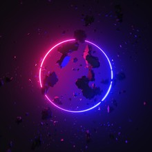 3d Render Abstract Modern Geometric Background, Pink Blue Neon Light, Glowing Ring, Round Frame. Broken Concrete Pieces Levitating, Rocks Flying, Wall Debris. Minimal Futuristic Concept