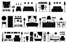 Set Of Black And White Silhoue...
