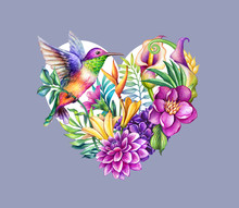 Digital Watercolor Botanical Illustration. Valentine Day Heart Symbol. Tropical Wild Flowers, Leaves, Humming Bird, Calla Lily, Hydrangea, Gerber. Floral Arrangement, Violet Background. Greeting Card