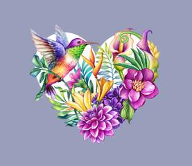 Fototapeta Ptaki digital watercolor botanical illustration. Valentine day heart symbol. Tropical wild flowers, leaves, humming bird, calla lily, hydrangea, gerber. Floral arrangement, violet background. Greeting card
