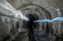 Light Trails In Drainage Tunnel
