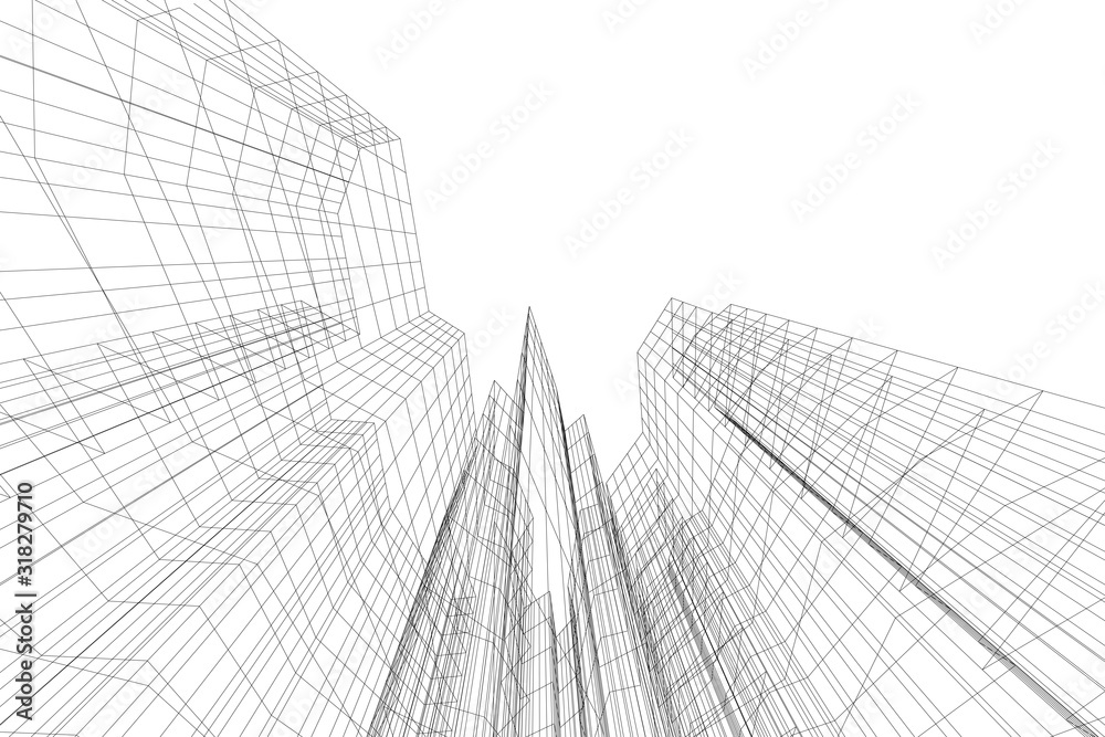 Fototapeta Abstract architectural background. Linear 3D illustration. Concept sketch