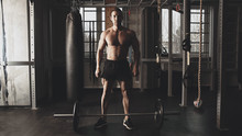 Muscular Strong Athletic Man W...