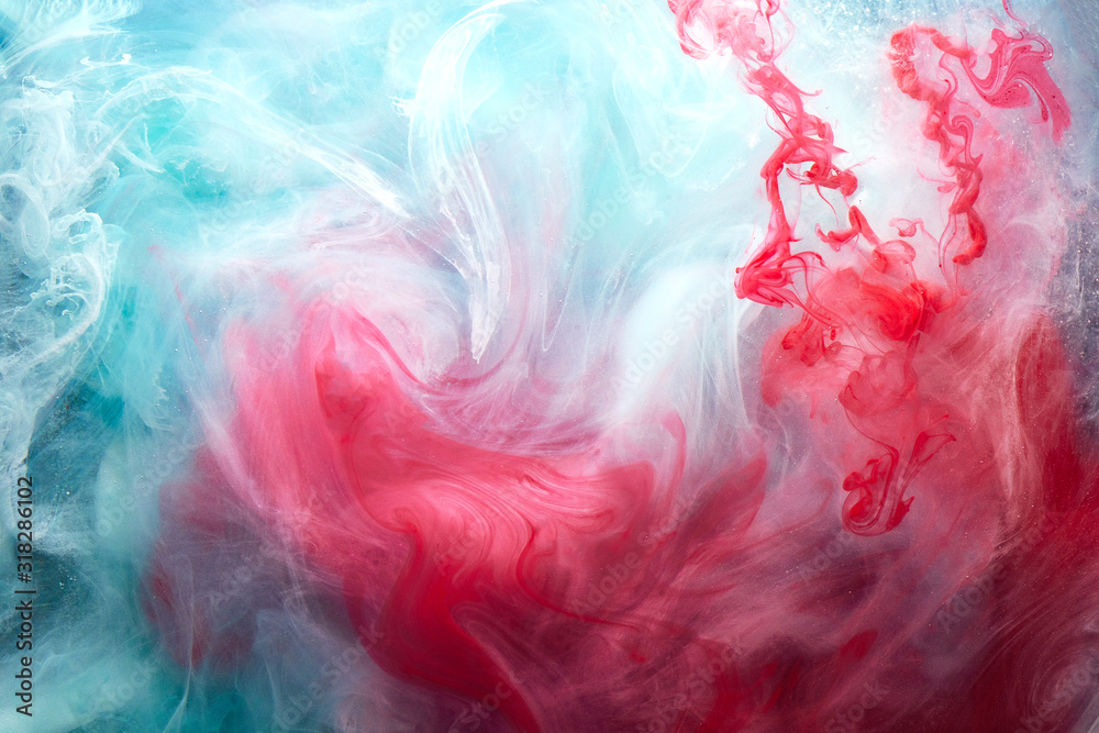 Fototapeta Abstract bright swirling smoke, valentines day background. Vibrant colorful fog, exciting perfume fragrance, hookah backdrop. Contrasting colors of love, passion, sensual sex