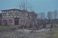 Wooden Medieval European House, 18th Century European City Building, Old European-style Wooden House
