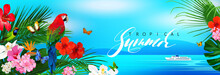 Beautiful Tropical Banner With...