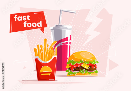 Fototapeta vector illustration of a classic set of fast food, a glass of soda with a straw, French fries, Burger obraz