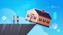 African American Man Woman Couple Looking At Falling Home In Abyss Debt For House Real Estate Housing Crisis Business Of Mortgage Rates Bankruptcy Concept Horizontal Full Length Vector Illustration