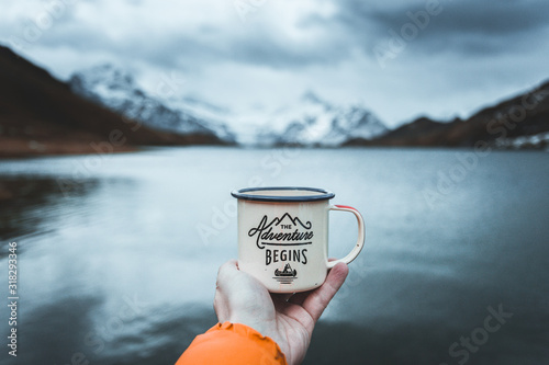 Stampa su Tela Close-up of male hand holding mug