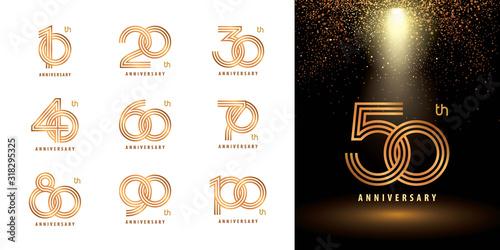 Photographie Set of Anniversary logotype design, Celebrating Anniversary Logo multiple line g