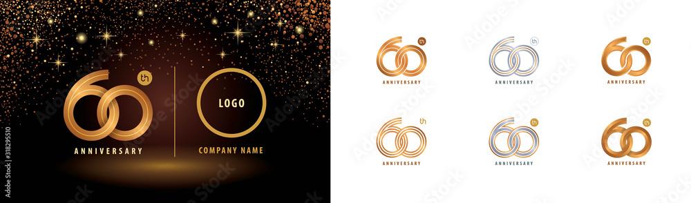 Fototapeta Set of 60th Anniversary logotype design, Sixty years anniversary celebration