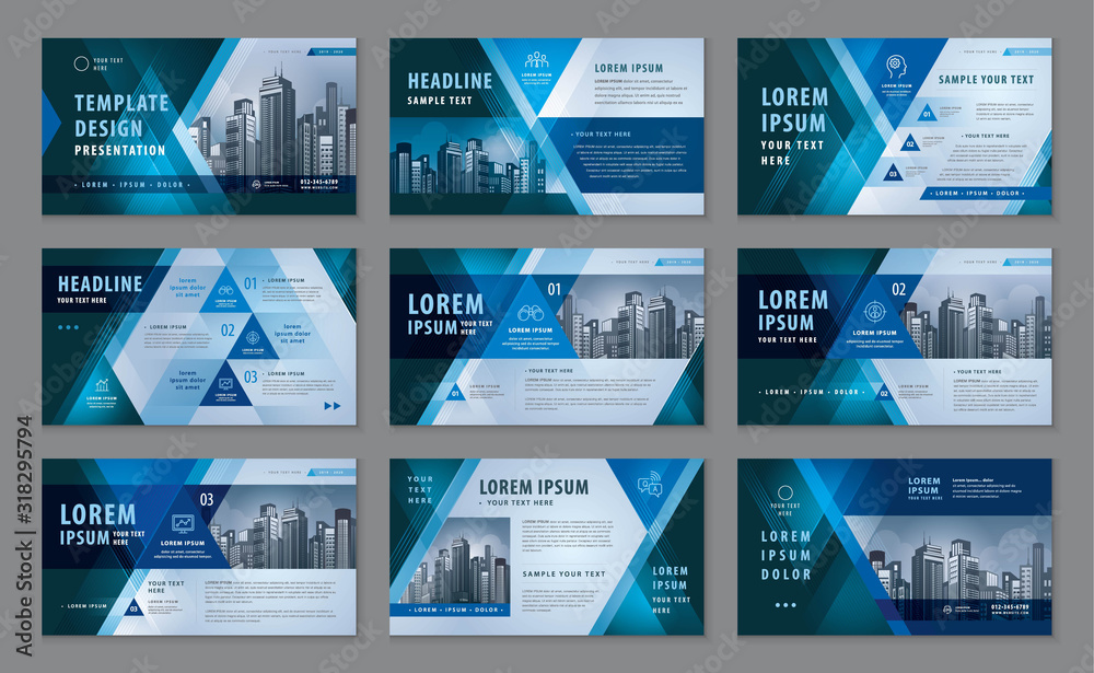 Fototapeta Abstract Presentation Templates, Abstract Geometric Blue Triangle Background vector