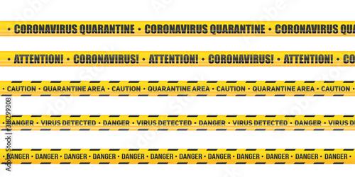Obraz Coronavirus Caution and warning tape. Set of Seamless tapes hazard quarantine. Epidemic barrage lines. Vector Illustration isolated on white background. - fototapety do salonu