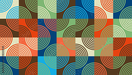 Mid-Century Abstract Vector Pattern Design Canvas Print