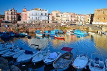 Pozzuoli, Italy. View Of Boats In The Ancient Port