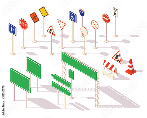 Set of different road signs isometric. Common warning signs symbols and road traffic regulatory. Flat 3d isometric icons road signs for infographic.