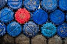 Full Frame Shot Of Plastic Barrels Stacks