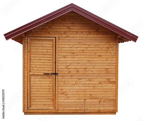 Wooden shed or log cabin house isolated on white background