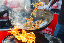 Chef Cooks Chinese Noodle Wok ...