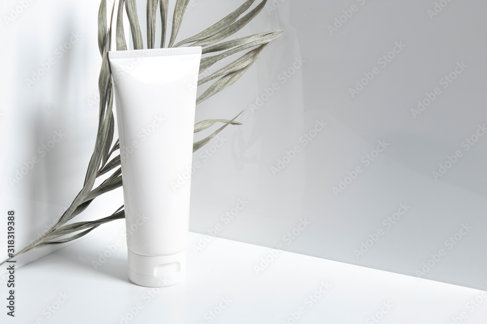Fototapeta beauty treatment medical skincare and cosmetic lotion cream serum oil mockup bottle packaging product on white decor background, healthcare and medicine concept