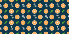 Seamless Pattern With Orange Fruit Slice, White Flowers And Green Leaf. Tropical Texture And Background