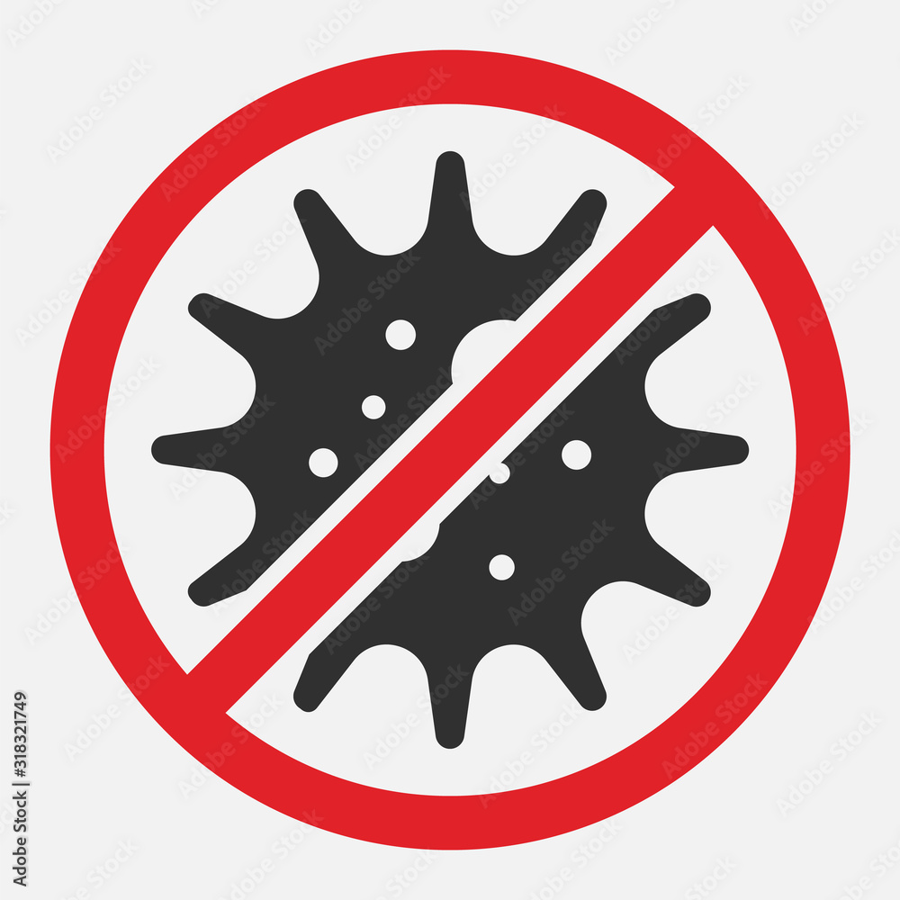 Fototapeta Stop sign of virus, bacteria, germs and microbe isolated on white background. Vector illustration.