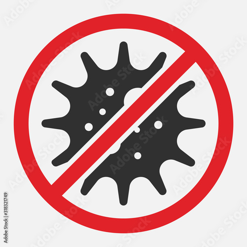 Stop sign of virus, bacteria, germs and microbe isolated on white background Wallpaper Mural
