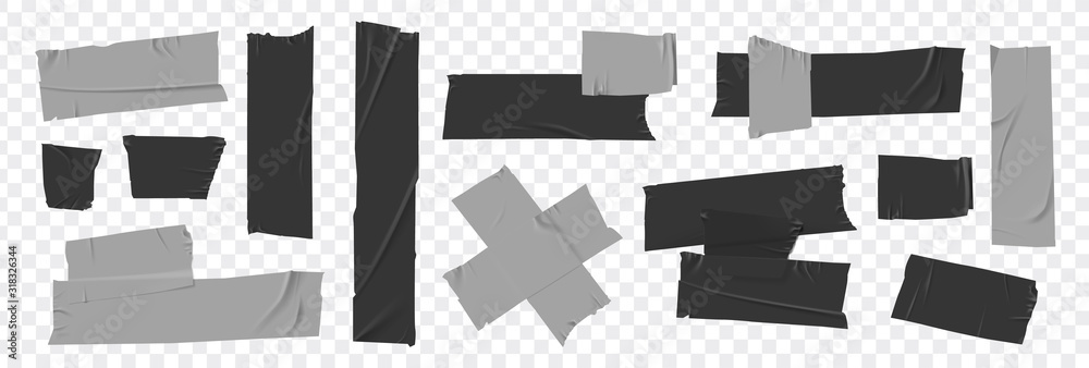 Fototapeta Set masking tape. Torn tape. Vector realistic black adhesive and grey masking tape pieces. Isolated vector illustration