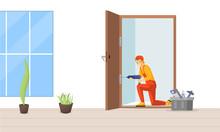 Carpenter Fixing Door Flat Vec...