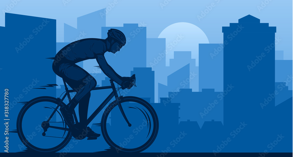 Fototapeta Vector biking illustration with a cyclist on a sportbike on a city road