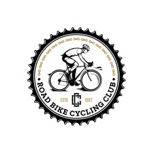 Vector Road Biking Badge, Logo, Label With A Rider On A Bike