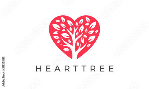 Heart Tree Logo - Love Charity Care Vector Design Template Obraz na płótnie