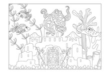 Coloring Sheet For Children. Underwater Landscape With A Castle, Octopus, Seahorses And Fish. Poster. Vector