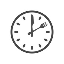 Lunch Time Icon. Restaurant Logo Template. Vector Illustration Isolated On White Background.