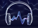 3D headphone with sound waves on dark background. Abstract visualization of digital sound and modern art. Concept of electronic music listening. Digital audio equipment. EPS 10 vector illustration.