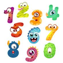 Set Of Cartoon Monster Numbers
